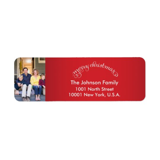 Custom Merry Christmas Photo Return Address Labels