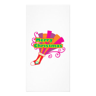 Custom Merry Christmas Red Stocking Button Cards Photo Greeting Card