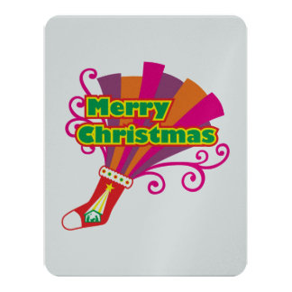 Custom Merry Christmas Red Stocking Invitations