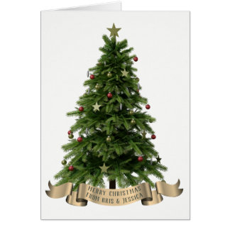 Custom Merry Christmas Tree Greeting Card