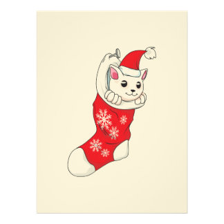 Custom Merry Christmas White Kitten Cat Red Sock Personalized Announcements