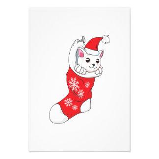 Custom Merry Christmas White Kitten Cat Red Sock Invitations