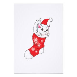 Custom Merry Christmas White Kitten Cat Red Sock Personalized Invitation