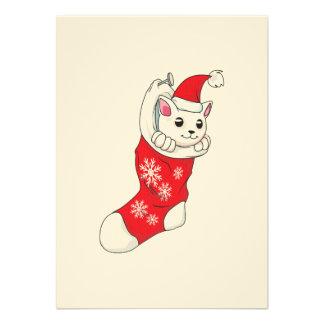 Custom Merry Christmas White Kitten Cat Red Sock Invites