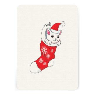 Custom Merry Christmas White Kitten Cat Red Sock Announcements
