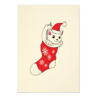 Custom Merry Christmas White Kitten Cat Red Sock Custom Invites