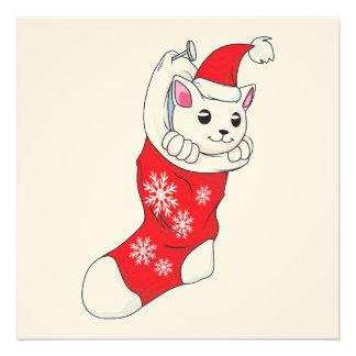 Custom Merry Christmas White Kitten Cat Red Sock Custom Announcements
