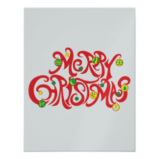 "Custom Merry Christmas with Christmas Balls 4.25"" X 5.5"" Invitation Card"