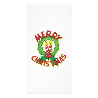 Custom Merry Christmas Wreath Candle Gift Wrappers Customized Photo Card