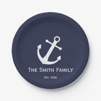 Custom Midnight Blue and White Nautical Plates