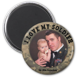 Custom Military I Love My Soldier Photo Frame 2 Inch Round Magnet