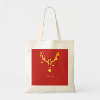 Custom minimalist Christmas gold reindeer red Tote Bag