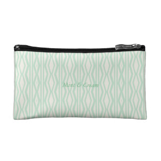 Custom Mint Cream Geometric Pattern Cosmetic Bag