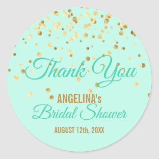 Custom Mint Gold Confetti Bridal Shower Thank You Classic Round Sticker