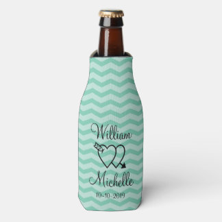 Custom mint green chevron wedding bottle coolers