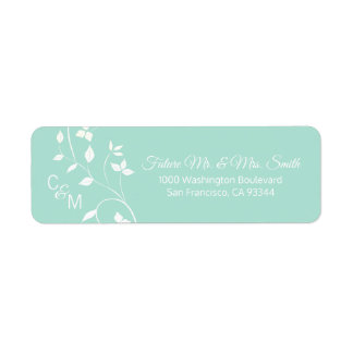 Custom Mint Green Grey Vine Wedding Return Address