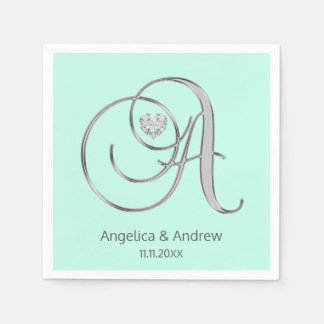 Custom Mint Green Silver Monogrammed A Wedding Disposable Napkin