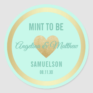 Custom Mint to Be Mint Gold Glitter Heart Wedding Classic Round Sticker