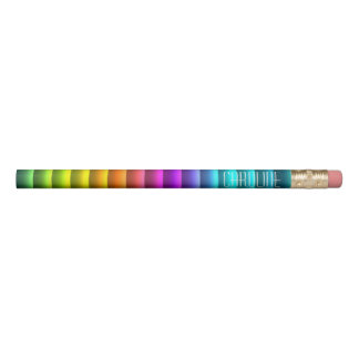 Custom Modern Colorful Rainbow Stripes Pattern Pencil