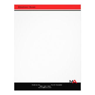 Custom Modern Monogram Black & Red Letterhead Template