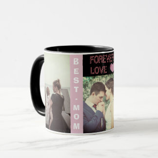 Custom modern trendy text and photo mug