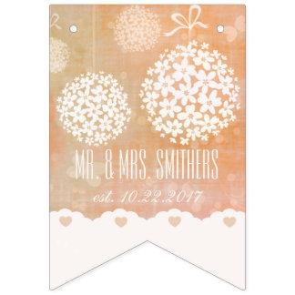 Custom Modern Wedding Bridal Floral Bunting Banner