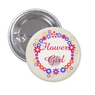 Custom Modern Whimsica Wedding Flower Girl Buttons