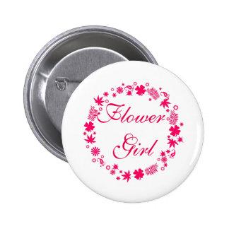 Custom Modern Whimsical Wedding Flower Girl Button