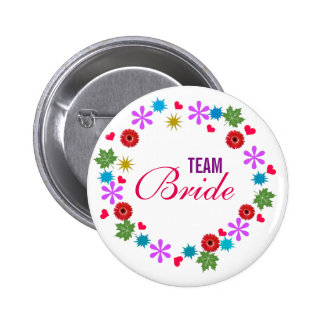 Custom Modern Wreath Wedding Team Bride Buttons