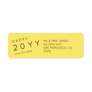 Custom Modern Yellow Holiday Return Address