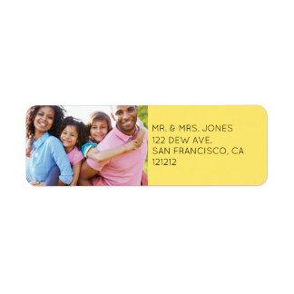 Custom Modern Yellow Photo Holiday Return Address