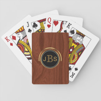 Custom Monogram 3 Letters | Woodgrain Gold Black Playing Cards