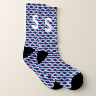 Custom monogram 3D block pattern design socks 1