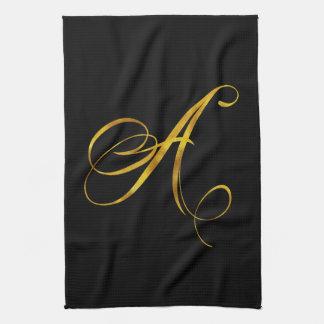 Custom Monogram A Faux Gold Foil Monograms Initial Kitchen Towel