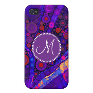 Custom Monogram Abstract Circles Mosaic Case For The iPhone 4