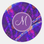 Custom Monogram Abstract Circles Mosaic Round Sticker