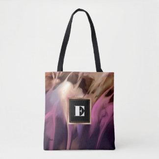 Custom Monogram Abstract Painting Tote Bags