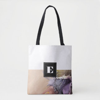 Custom Monogram Abstract Painting Tote Bags