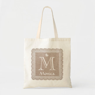 Custom Monogram and Name Burlap Lace V02E