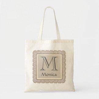 Custom Monogram and Name Tan Burlap Lace V03D Budget Tote Bag