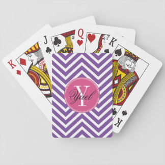 Custom Monogram and Name with Chevrons PINK Playing Cards