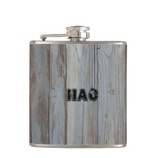 Custom Monogram Barn Wood Liquor Hip Flask