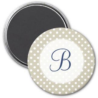 Custom Monogram Beige Neutral Polka Dots Stylish 3 Inch Round Magnet