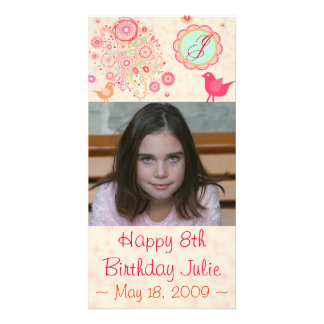 Custom Monogram Birthday Photo Card