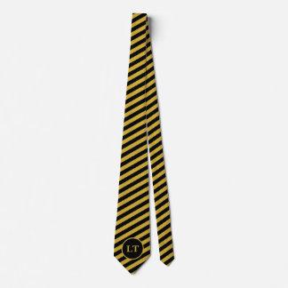 Custom Monogram Black and Gold Striped Men's Tie