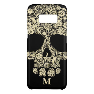 Custom Monogram Black and White Floral Sugar Skull Case-Mate Samsung Galaxy S8 Case