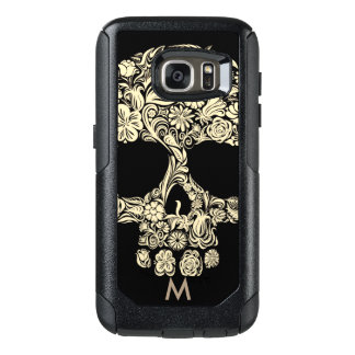 Custom Monogram Black and White Floral Sugar Skull OtterBox Samsung Galaxy S7 Case