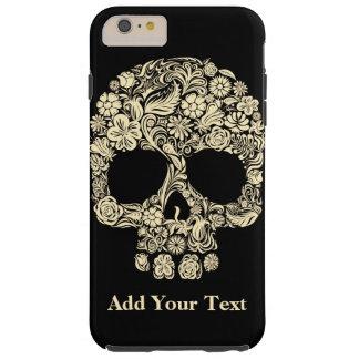 Custom Monogram Black and White Floral Sugar Skull Tough iPhone 6 Plus Case
