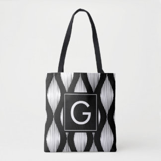 Custom monogram black and white ikat pattern tote bag
