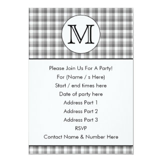 Custom Monogram. Black and White with Gray Check. Card